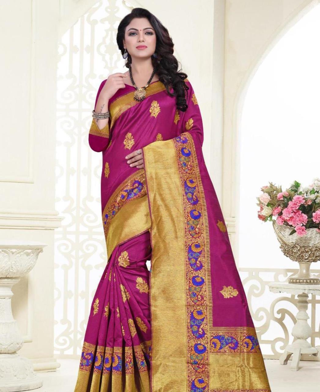 Printed Banarasi Silk Saree (Sari) in Magenta