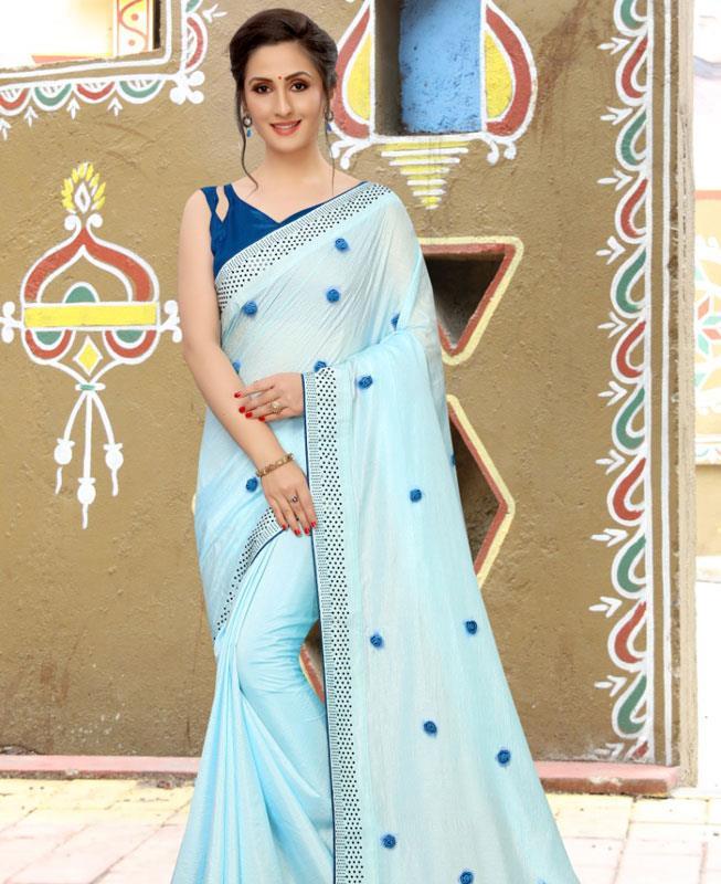 Dangler Silk Saree in SKYBLUE