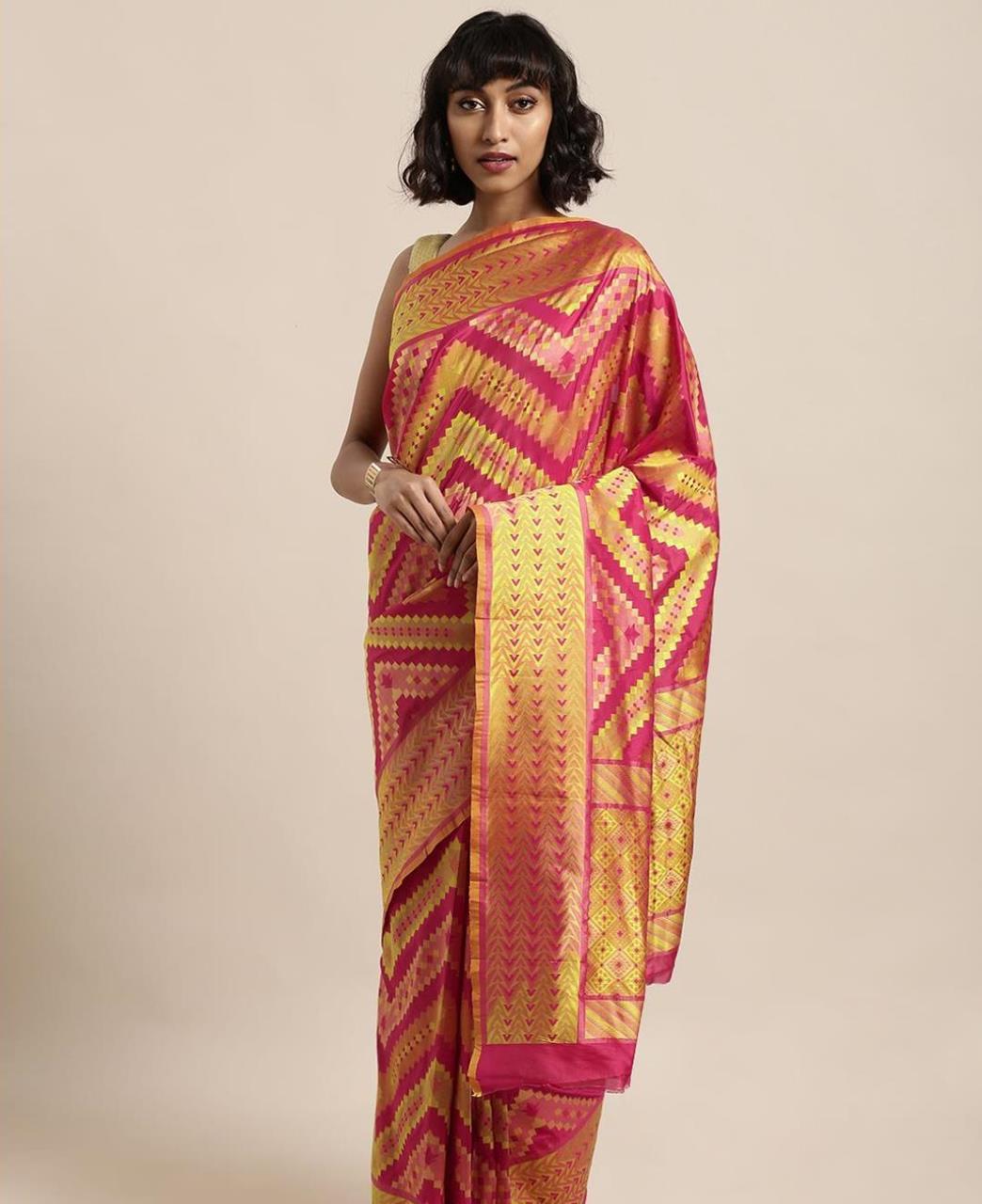 Silk Saree in Orange  ,  Yellow