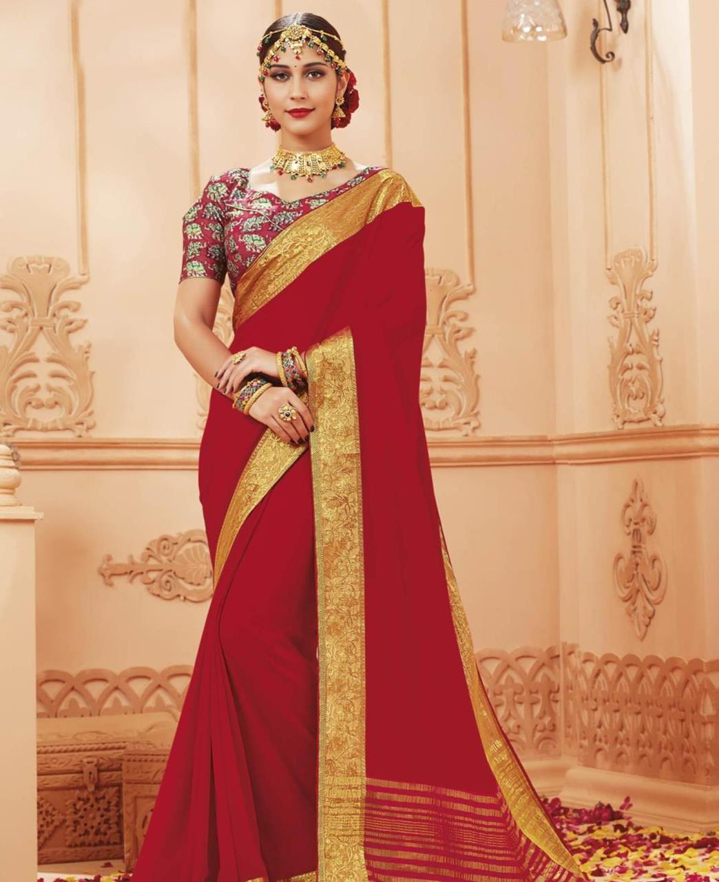 Lace Satin Saree in Red