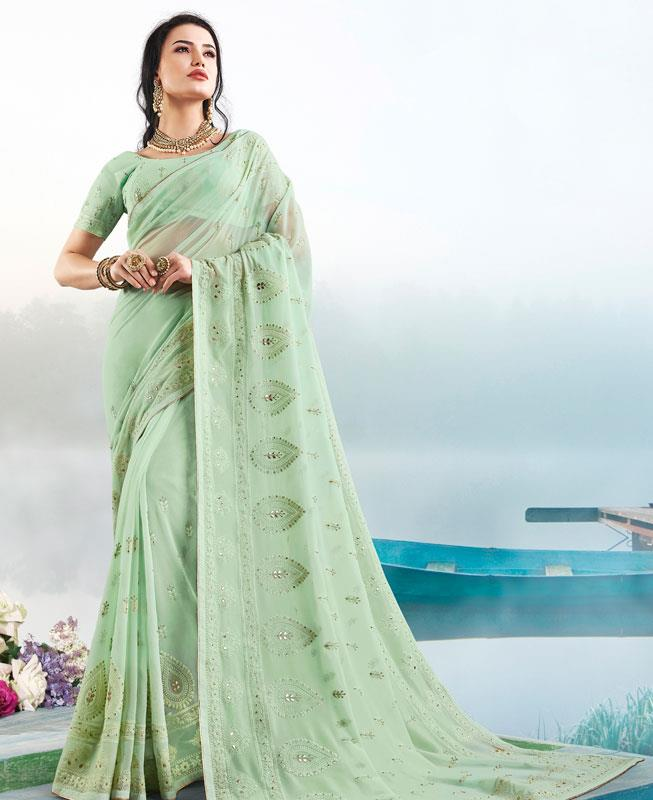 Georgette Saree in Light Green