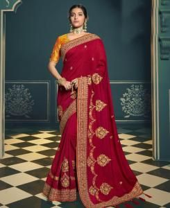 Lace Silk Saree in Red