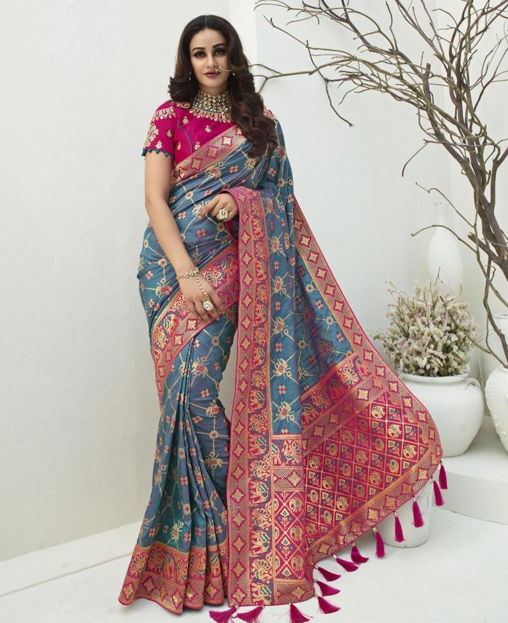 Stone Work Silk Saree in Two Tone Blue