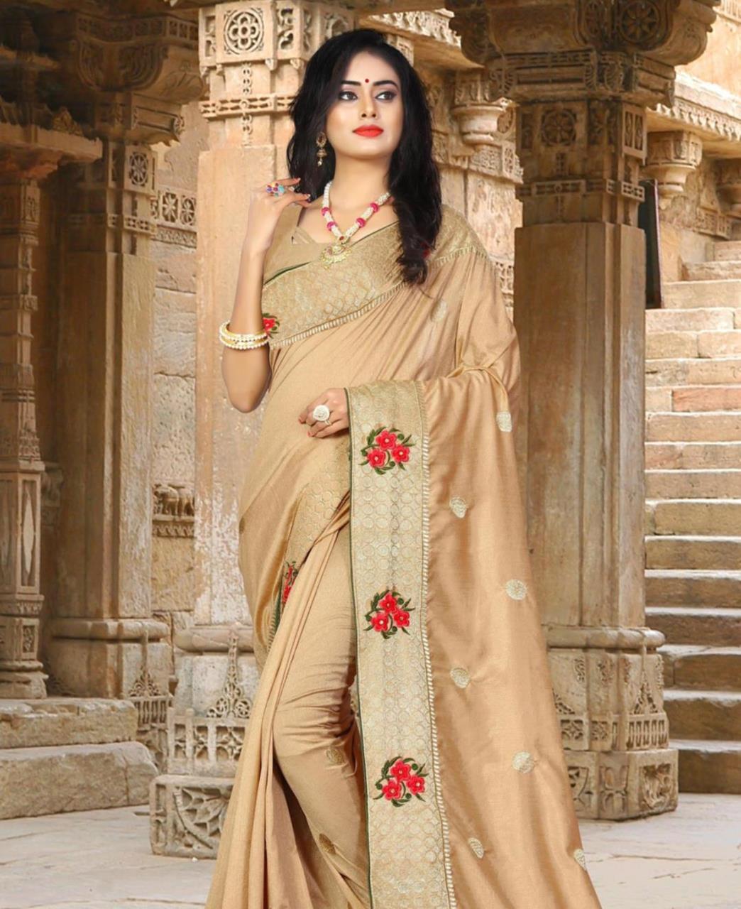 Resham Silk Saree (Sari) in Beige