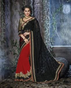 Resham Chiffon Saree in Black  ,  RED