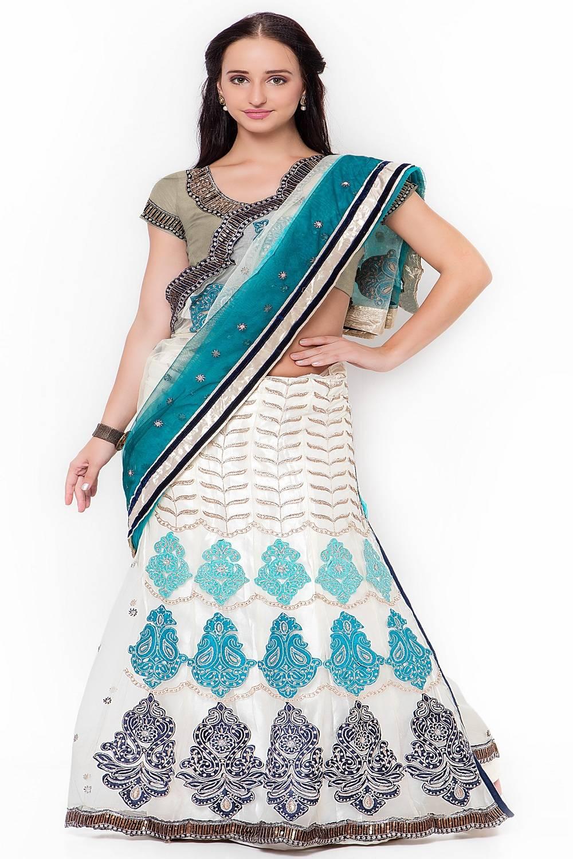 Embellishments Jacquard Saree (Sari) in Beige
