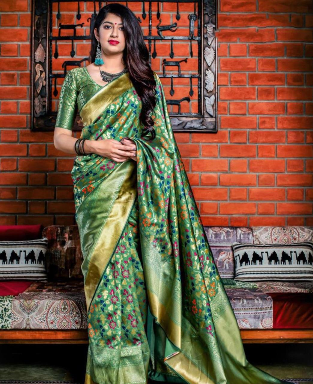 Printed Banarasi Silk Saree (Sari) Green