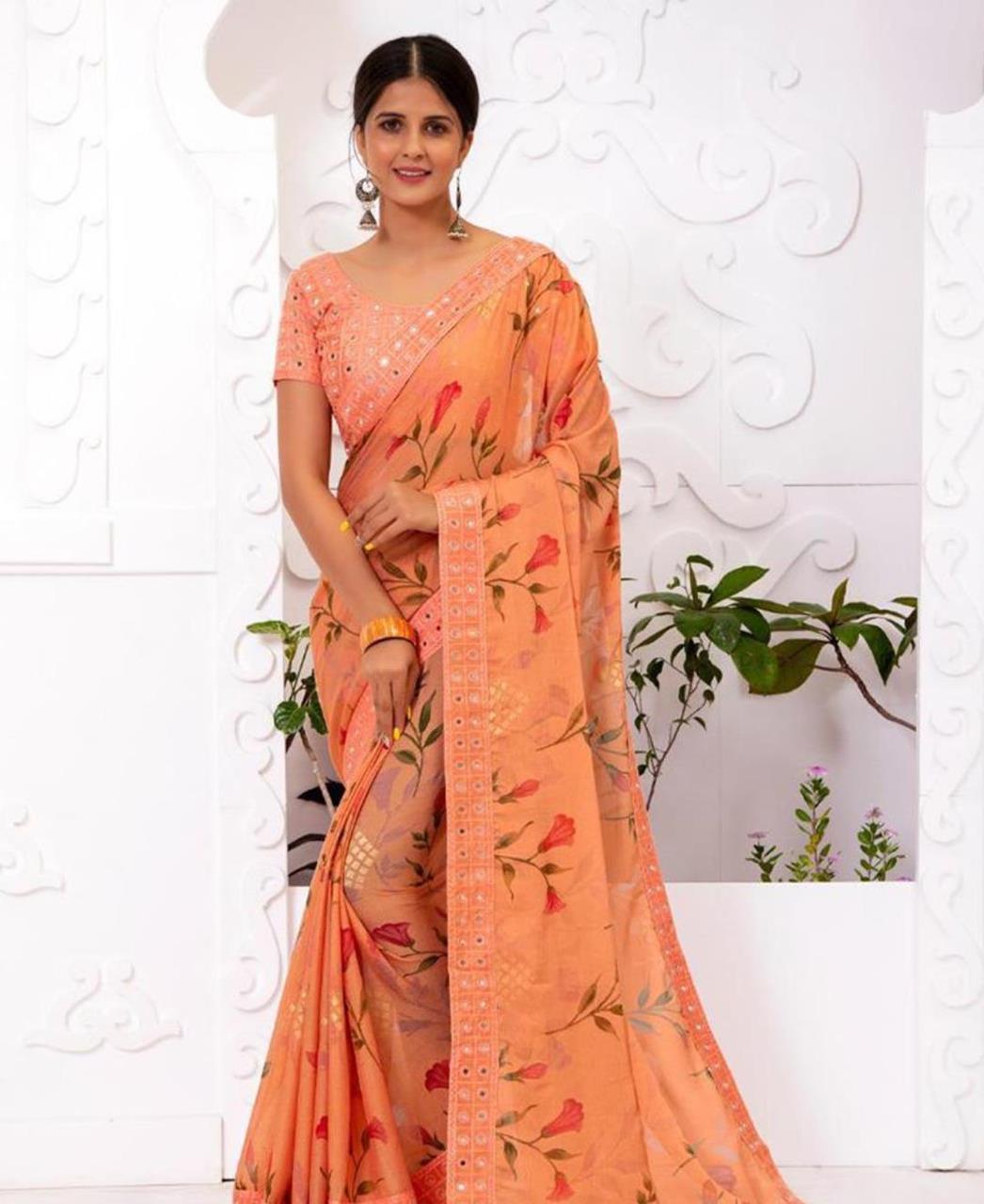 Embroidered Chiffon Saree in Peach