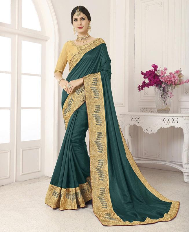 Embroidered Silk Saree in OLIVE