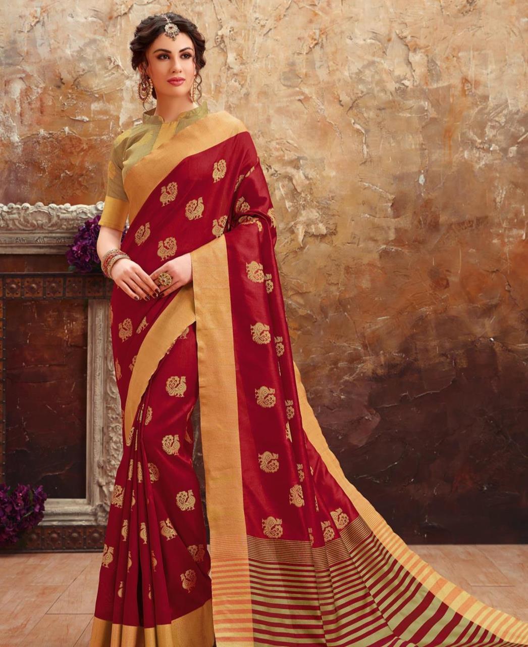 Printed Art Silk Saree (Sari) in Maroon