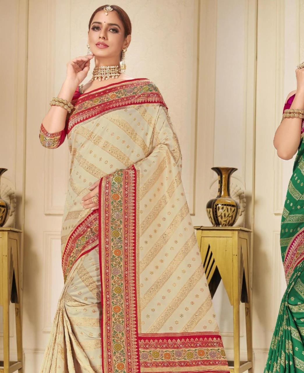 Printed Silk Saree in Beige