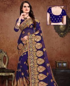 Resham Georgette Saree in Blue