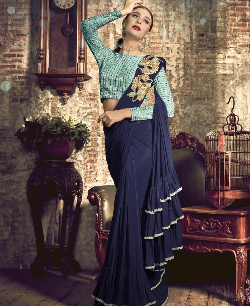 Plain Silk Saree (Sari) in Navyblue