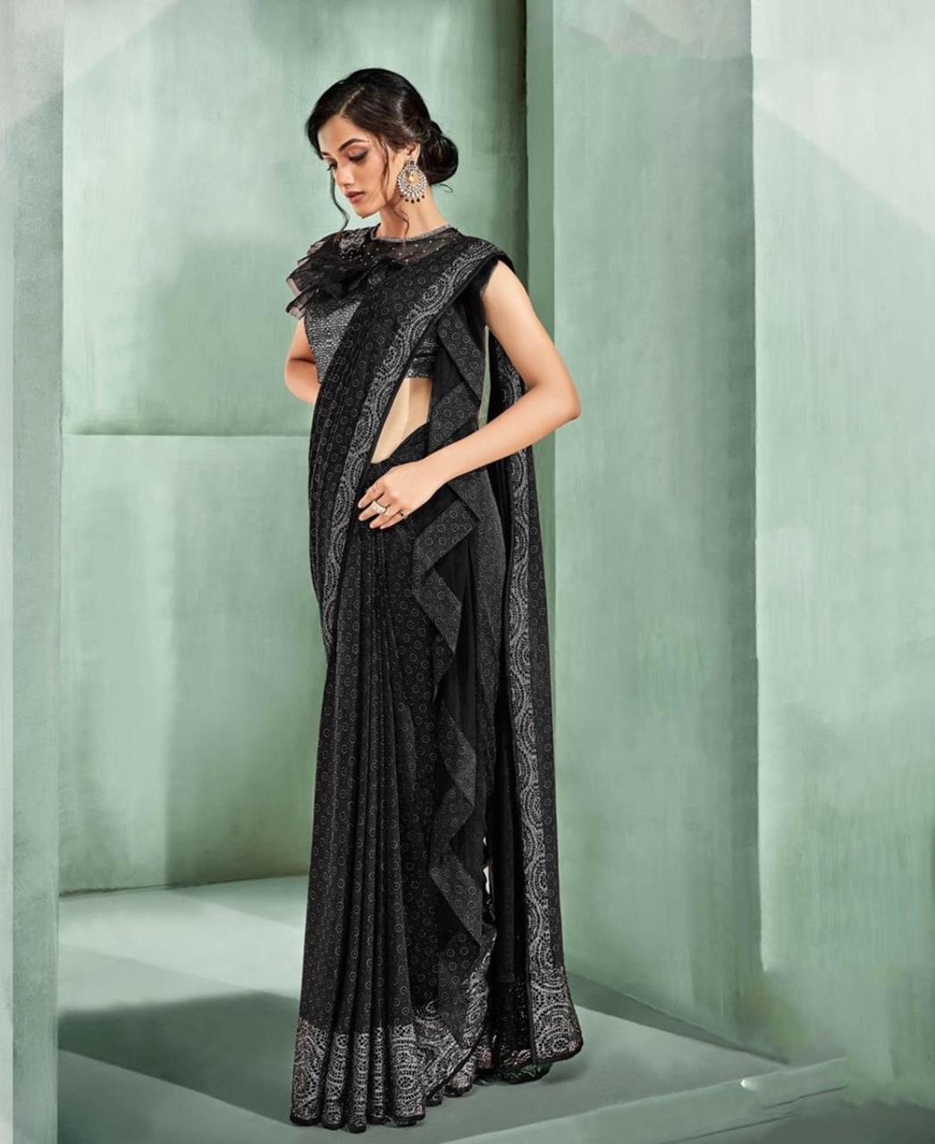Butta Work Lycra Saree (Sari) in Black