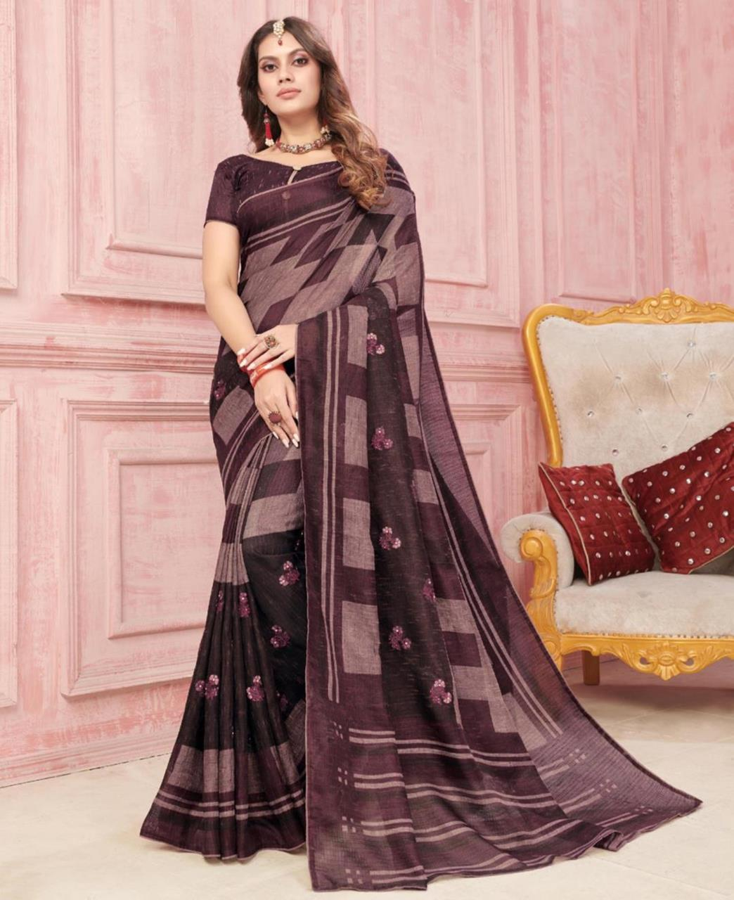 Embroidered Silk Saree in Brown