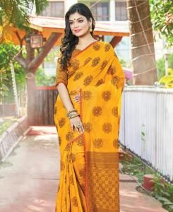 HandWorked Cotton Saree in Mustard Yellow