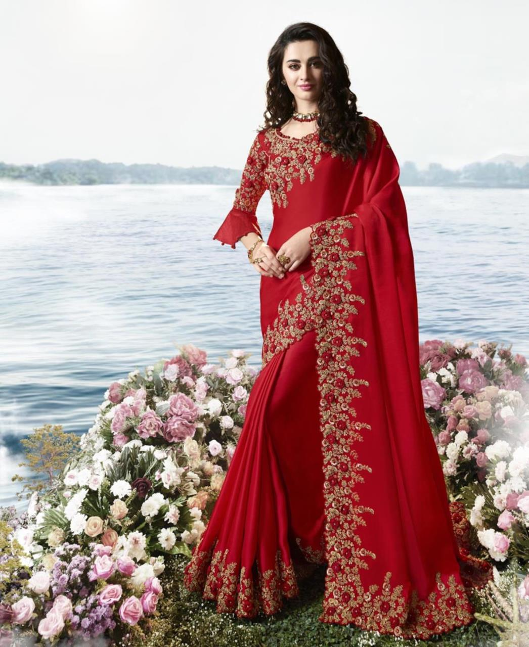 Satin Saree in Red