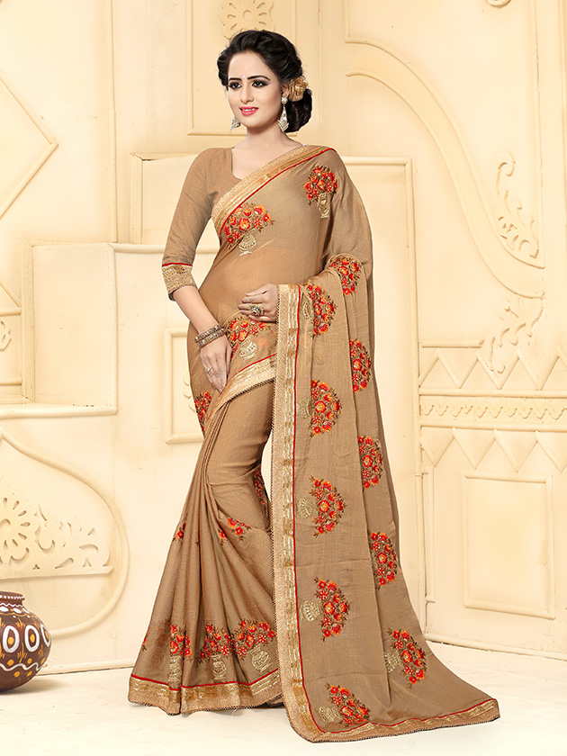 Embroidered Silk Saree (sari) in Beige