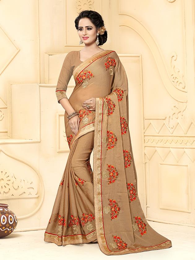Embroidered Silk Saree (sari) in Beige