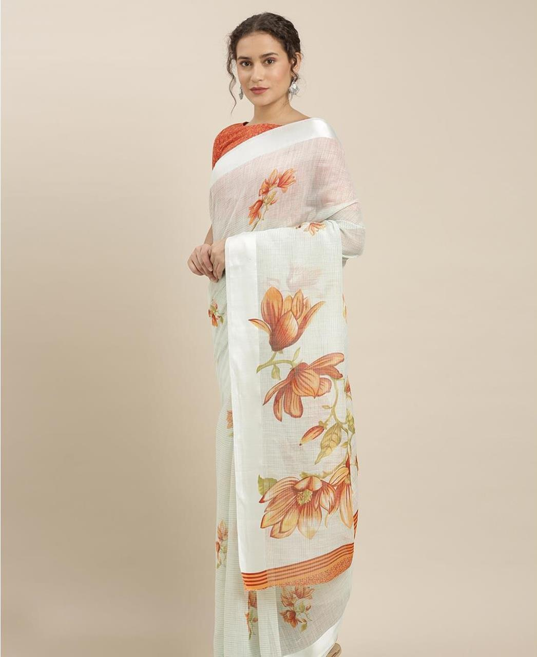 Printed Cotton Saree in Off White