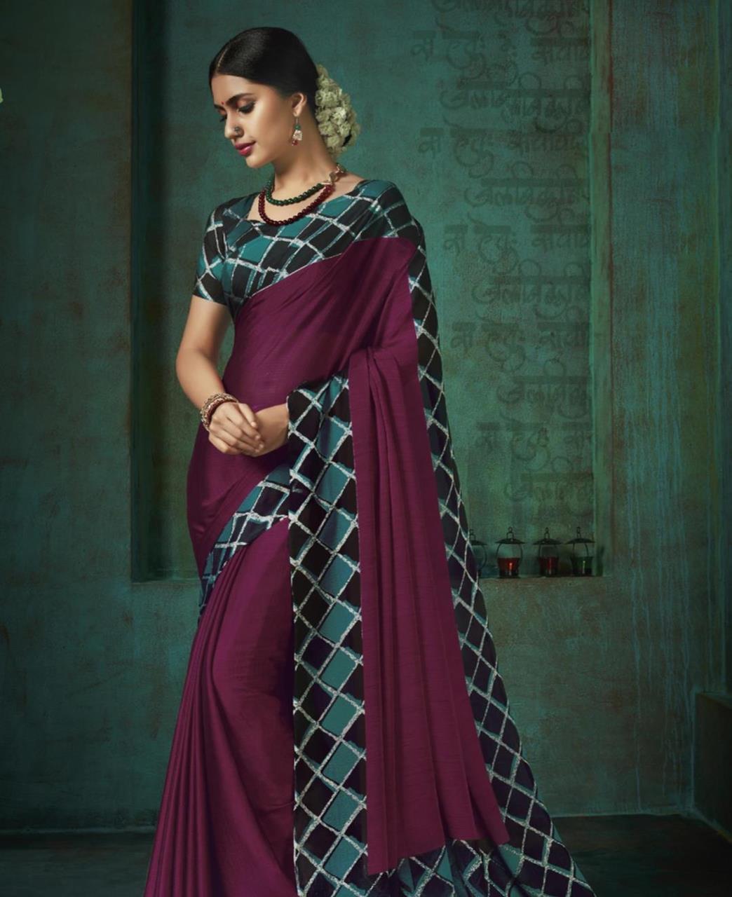Printed Silk Saree in Magenta