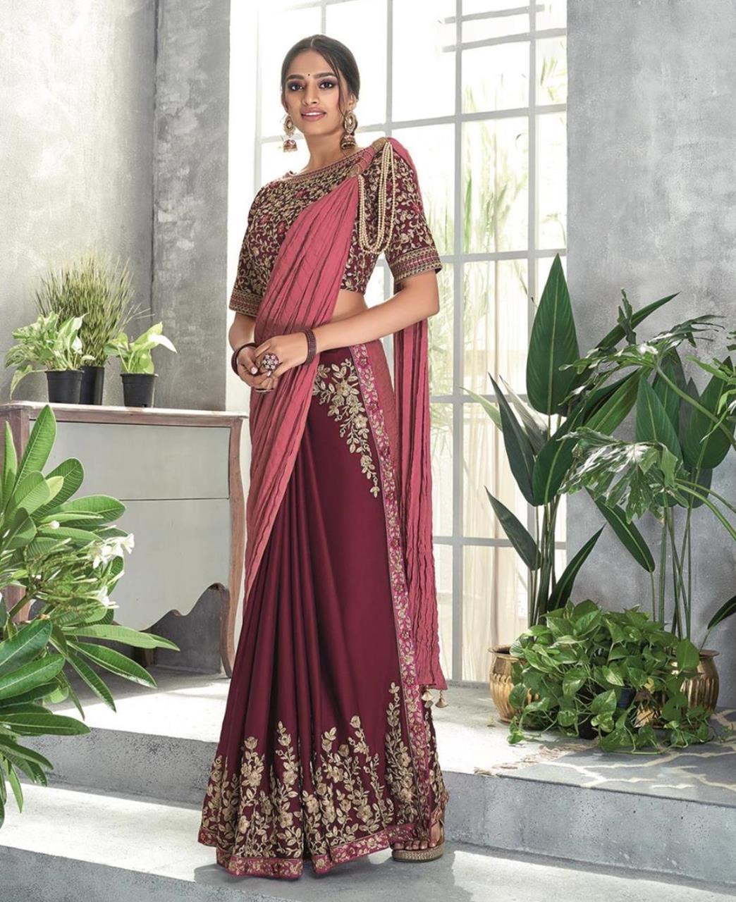 Thread Work Georgette Saree (Sari) in Maroon