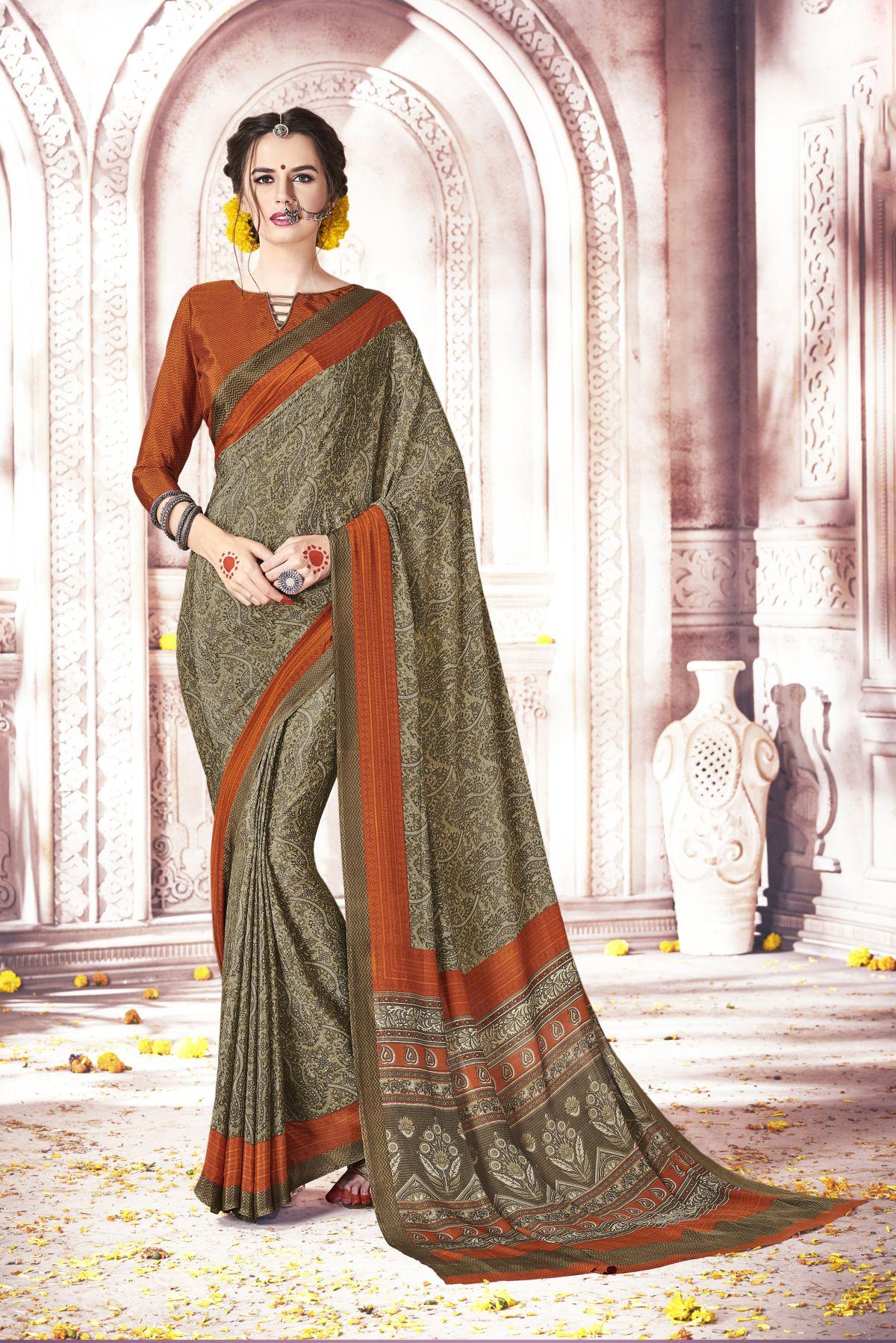Printed Silk Saree in OLIVE