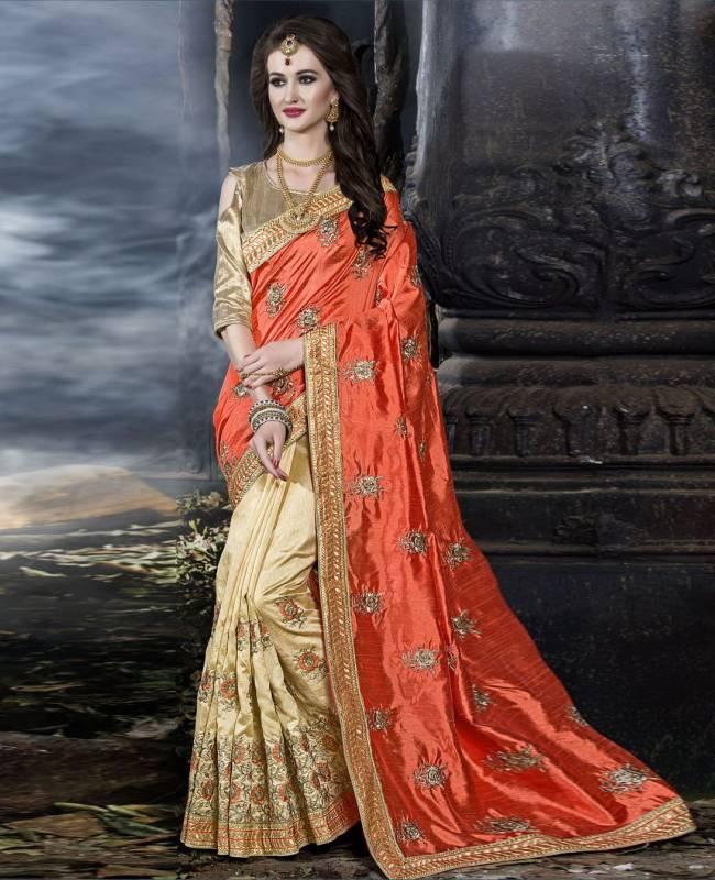 Embroidered Art Silk Saree (Sari) in Orange