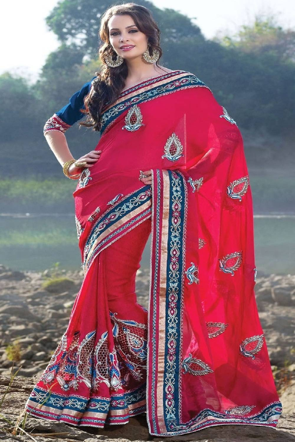 Embroidered Art Crepe Saree (Sari) in Red