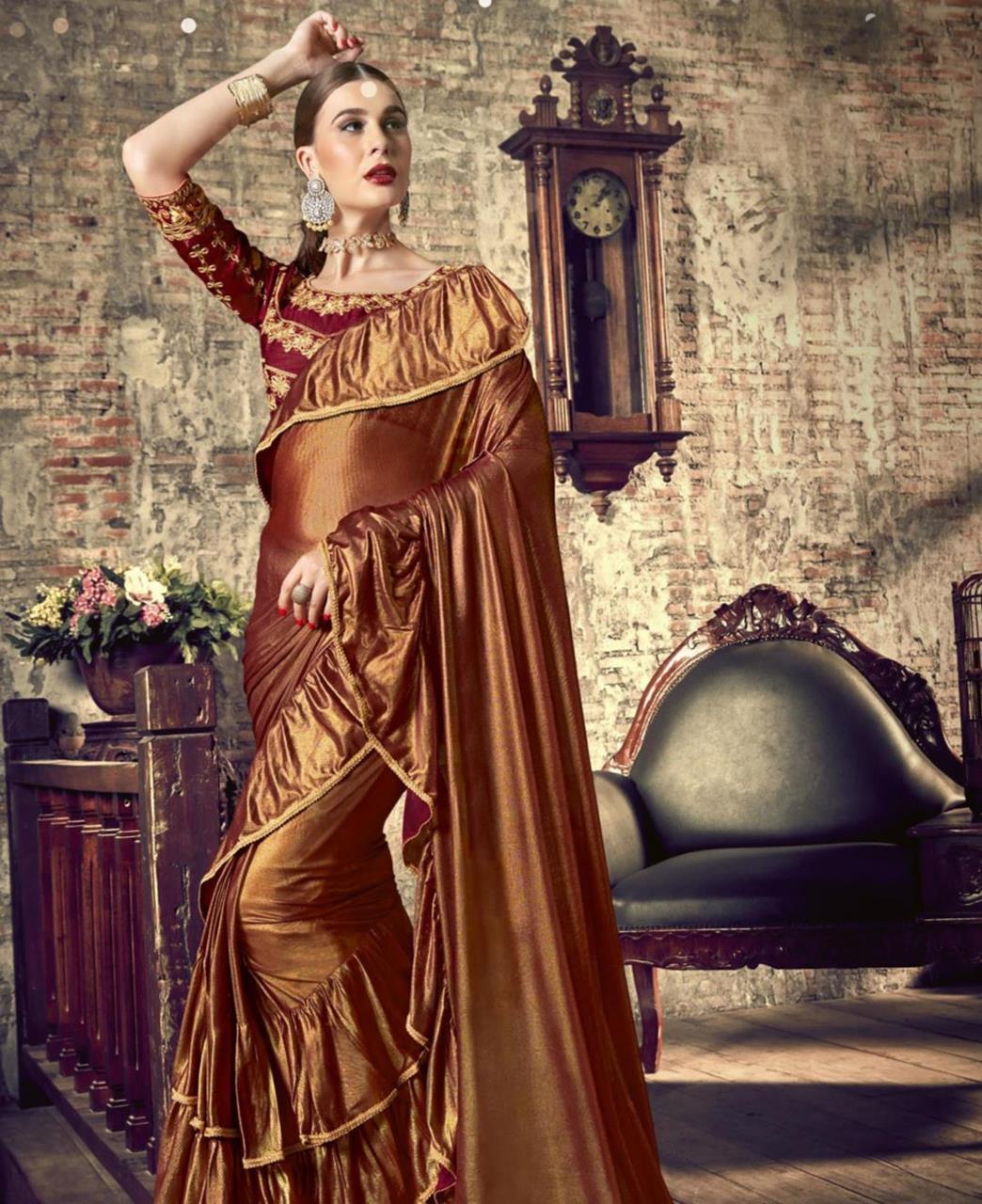 Plain Silk Saree (Sari) in Brown