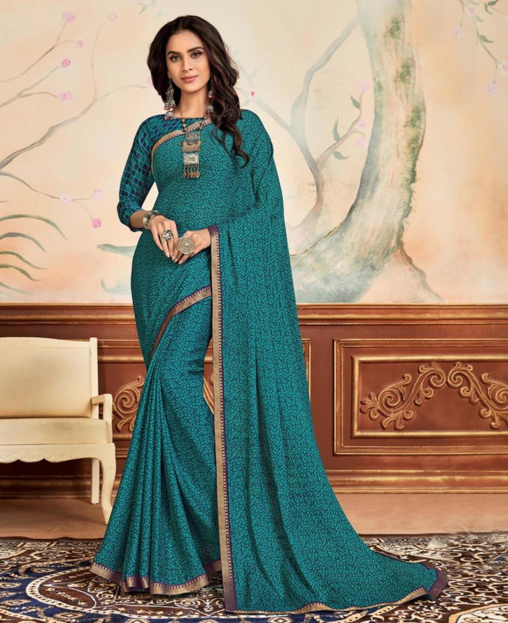 Lace Chiffon Saree in Teal Blue