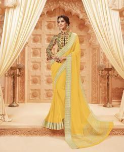 Lace Satin Saree in Yellow