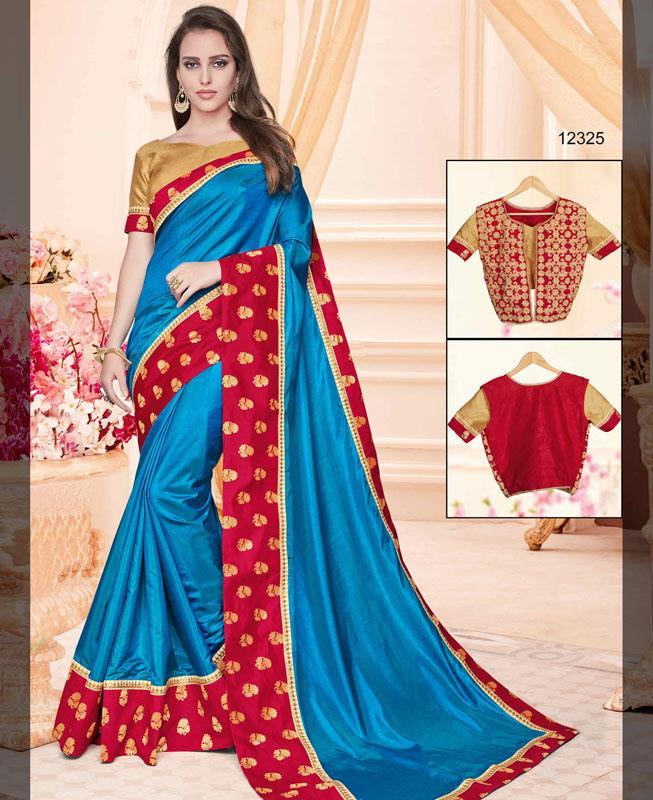 Zari Silk Saree (Sari) in Blue