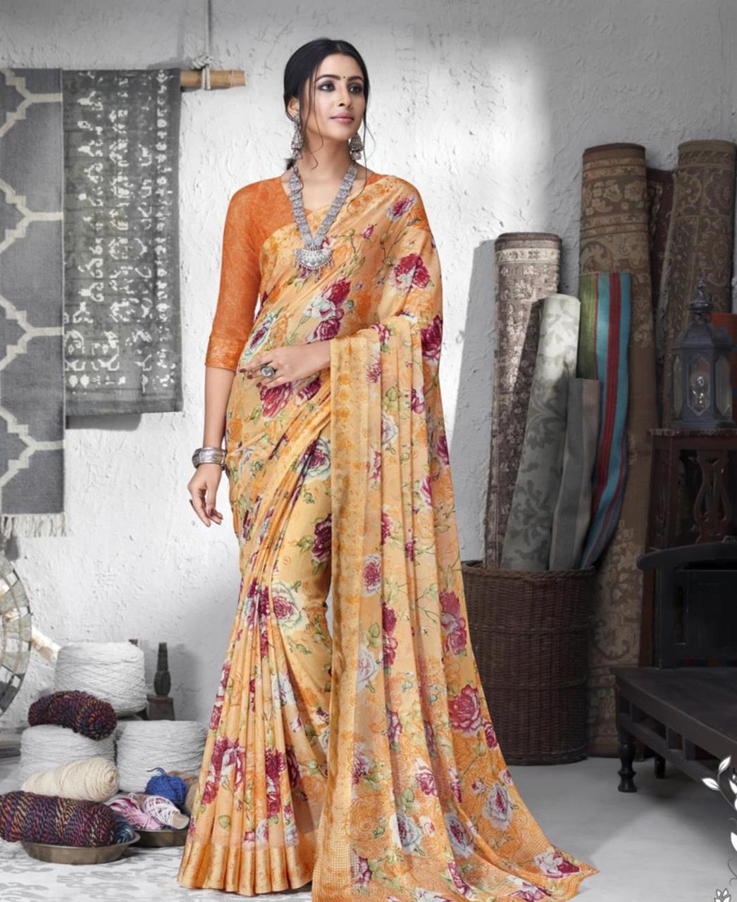 Printed Chiffon Saree in Orange