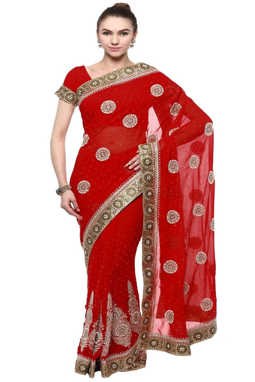 Stone Work Faux Georgette Saree (Sari) in Red