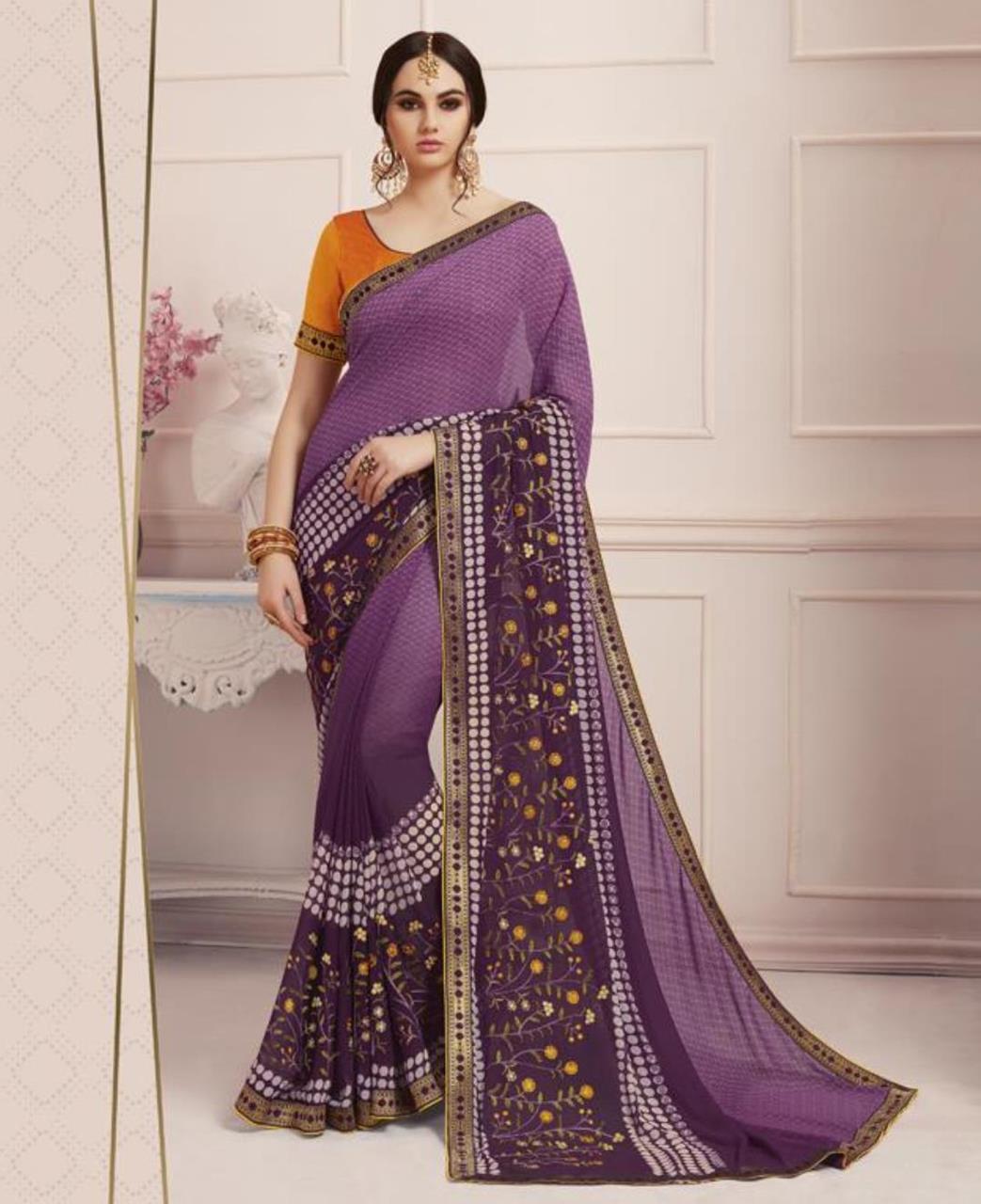 Printed Georgette Saree (Sari) in Purple