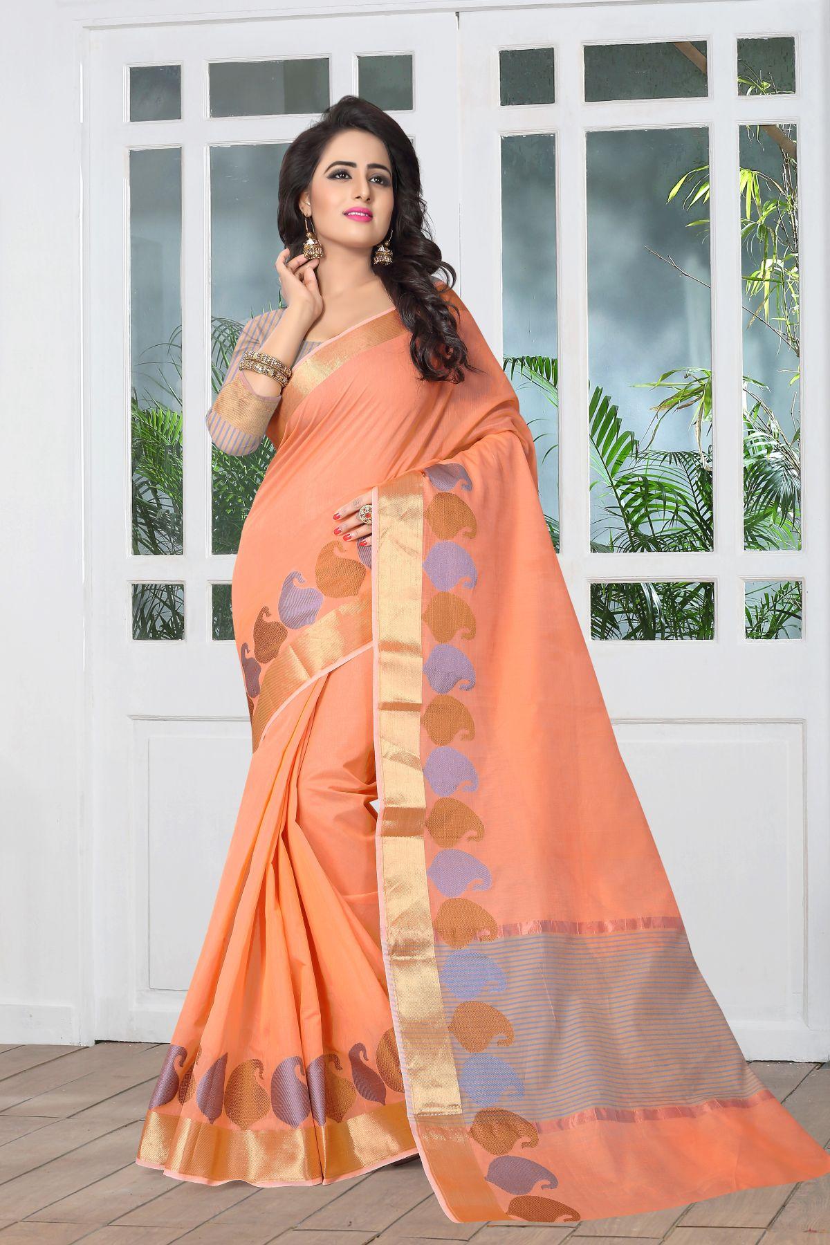Woven Art Silk Saree in Orange