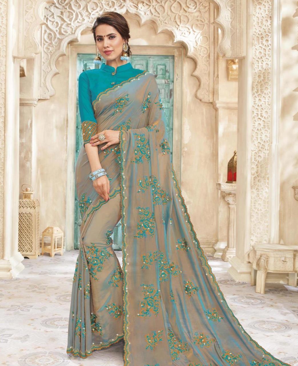 HandWorked Silk Saree in Two Tone Beige