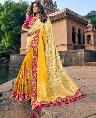 Jacquard Silk Saree in Gold