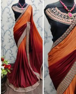 Embroidered Lycra Saree in Fawn