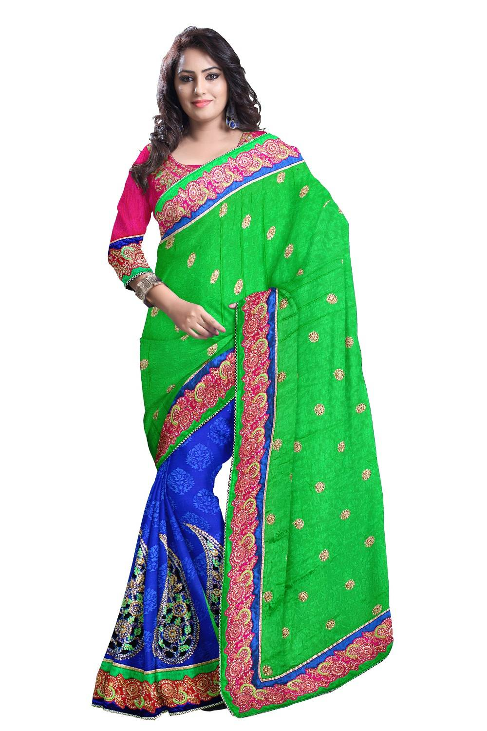 Embroidered Faux Georgette Saree (Sari) in Blue