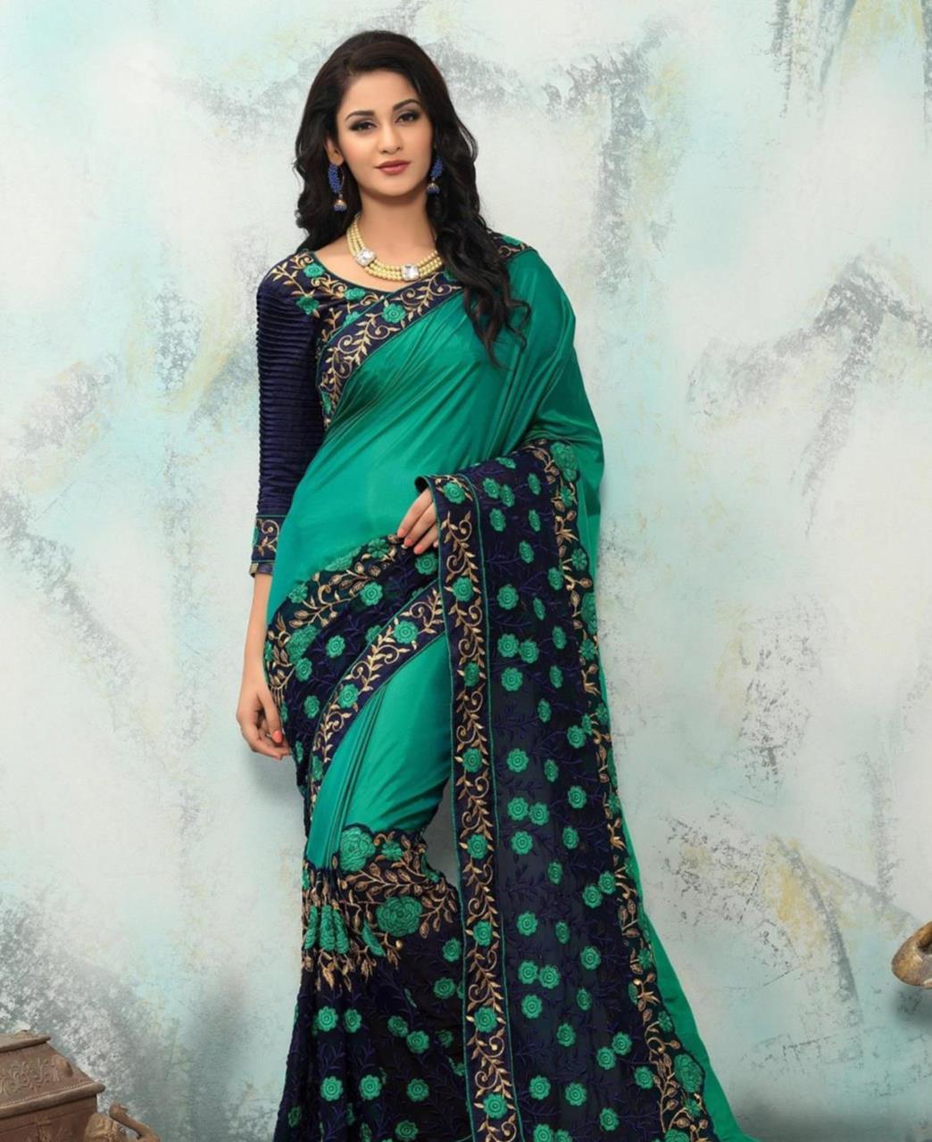 Embroidered Georgette Saree (Sari) in Green