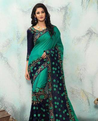 Embroidered Georgette Saree (Sari) in Green