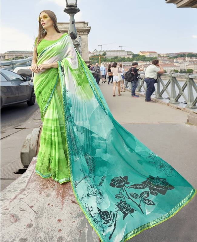 Printed Faux Georgette Saree (Sari) in Green