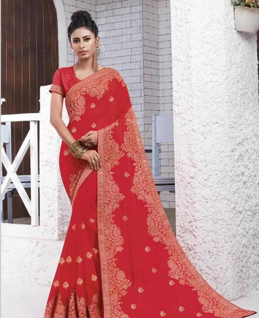Resham Chiffon Saree in Crimson Red
