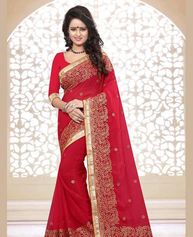Butta Work Georgette Saree (Sari) in Red