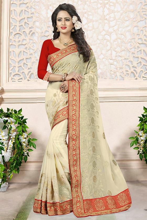 Embroidered Georgette Saree (sari) in Cream