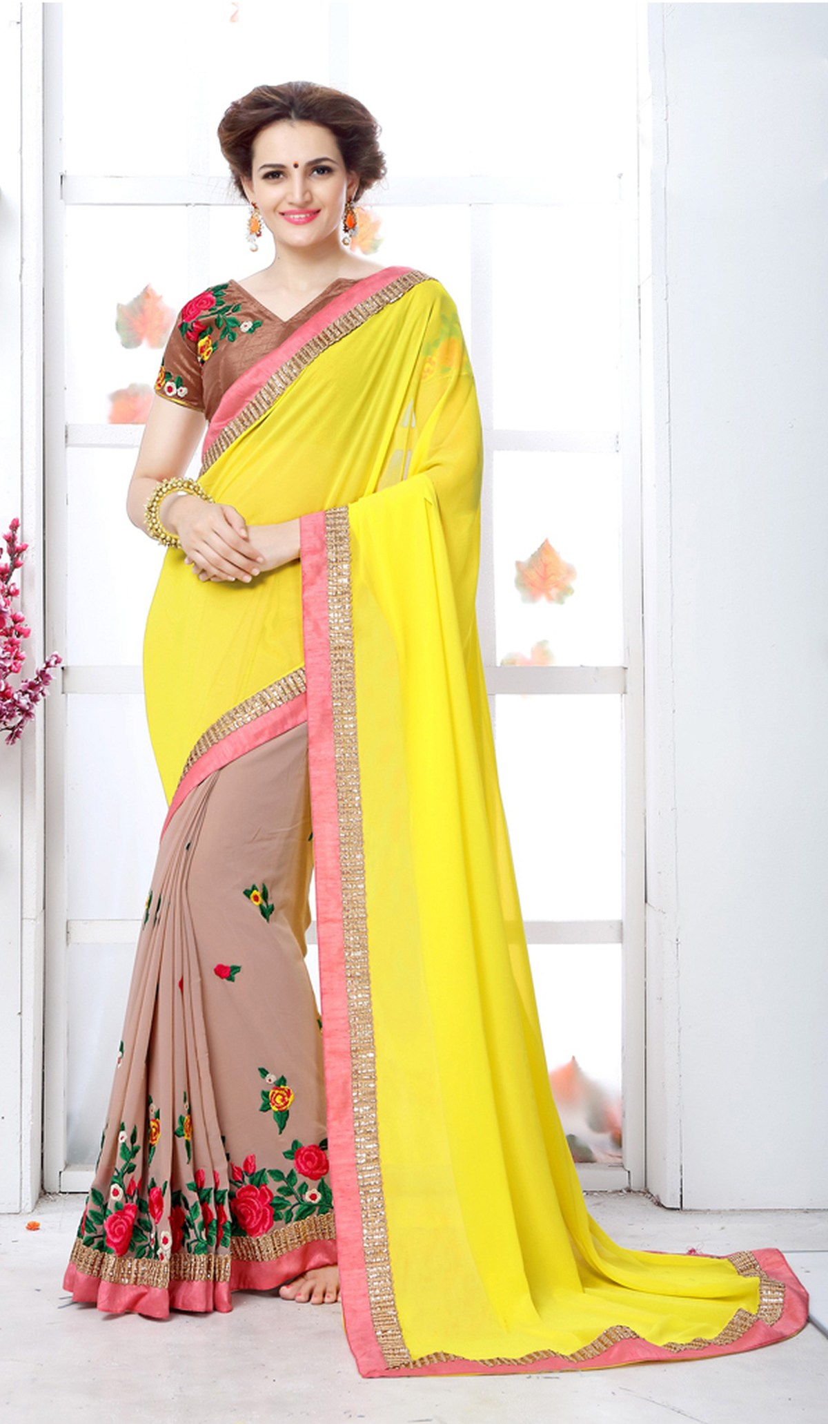 Embroidered Georgette Saree (Sari) in Yellow