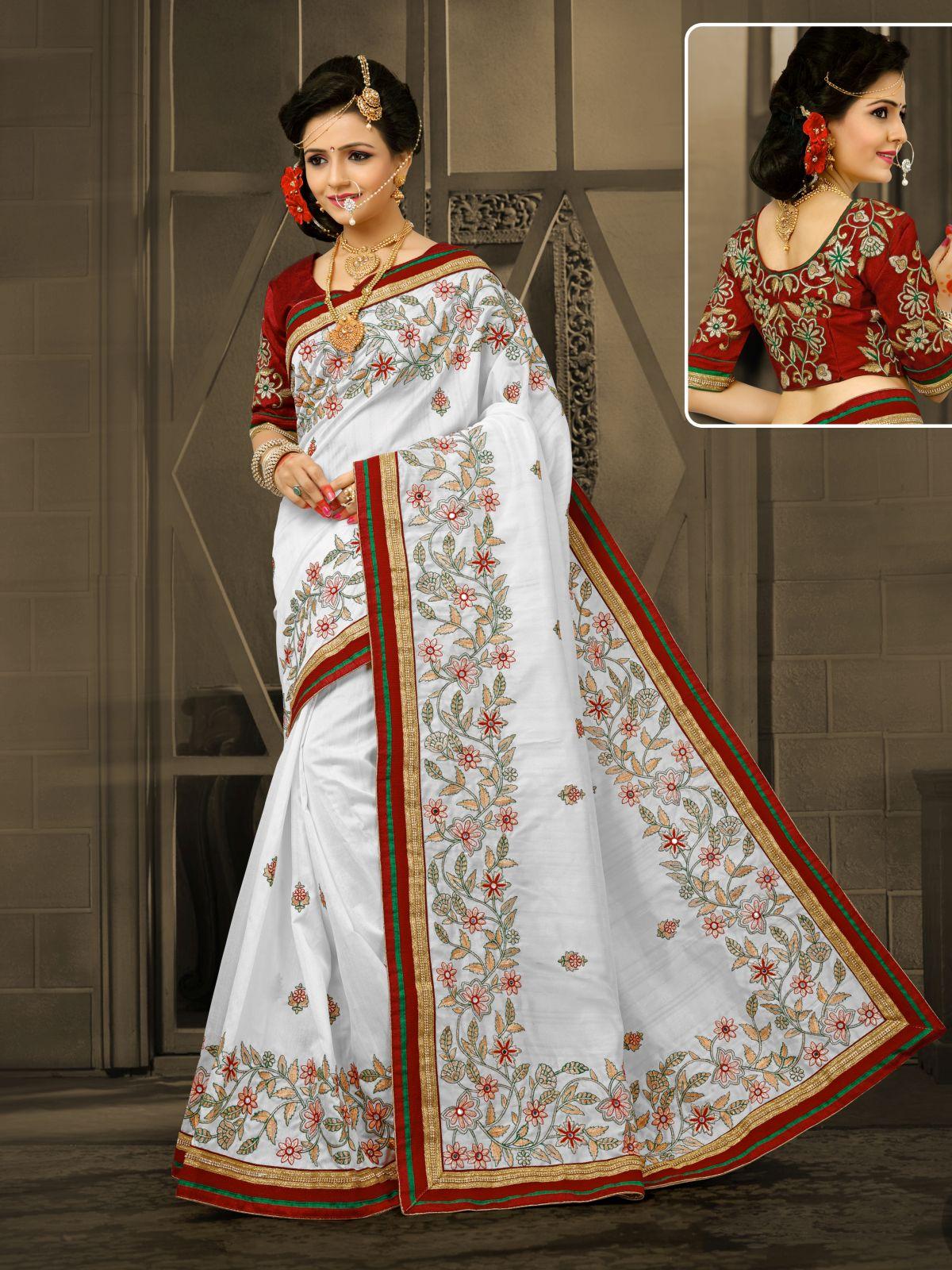 Embroidered Art Silk Saree in White