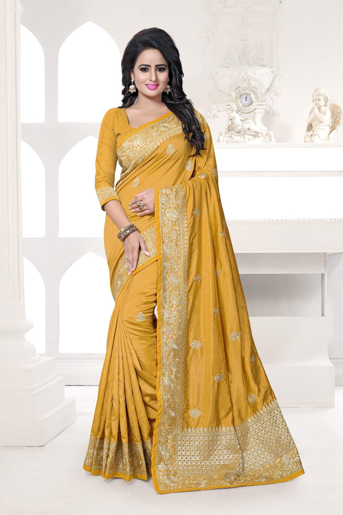 Embroidered Art Silk Saree (Sari) in Yellow